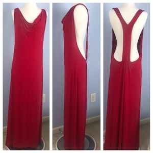 Venus maxi length red coverup with open back
